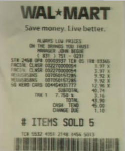 Walmart Receipt – Trial By Pictures