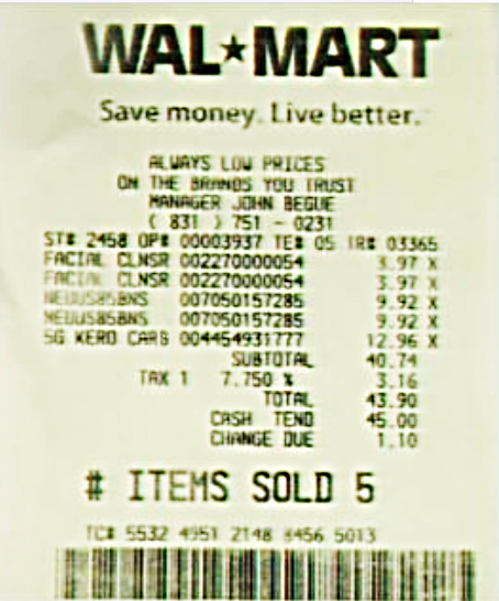 the facts about the walmart receipt trial by pictures